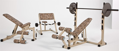 Commercial quality gym equipment for high school weight rooms and government fitness facilities