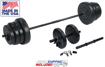 105 lb. Home Gym Vinyl Barbell and Dumbbell Set