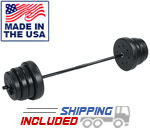 100 lb. USA Made Home Gym Vinyl Barbell Set