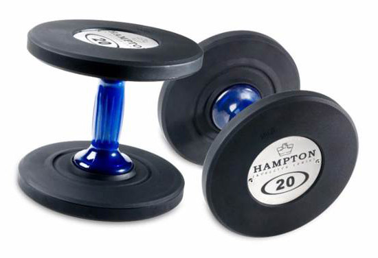 Hampton fitness ggud blue handle urethane dumbbells