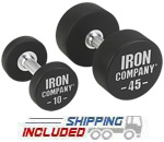 IRON COMPANY Solid Steel Urethane Dumbbells for commercial gyms and clubs