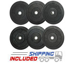 Economy Priced Rubber Bumper Plate Sets for Olympic Weightlifting in CrossFit boxes and commercial gyms