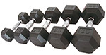 Rubber Hex Dumbbells for Garage Gyms and CrossFit Boxes