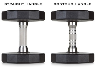 Iron Grip Commercial Urethane Dumbbells with Straight Round Handles or Comfortable Contoured Handles