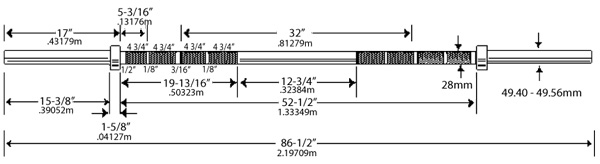Ivanko Barbell OB-20KG Competition Weightlifting Bar Specifications