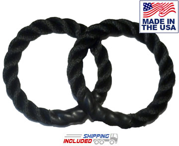 "Black Poly 12"" Rope Rings for Suspension (Pair)"
