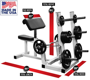 Legend Fitness 3114-PS Ultimate Preacher Curl Bench w/ Weight Plate Storage