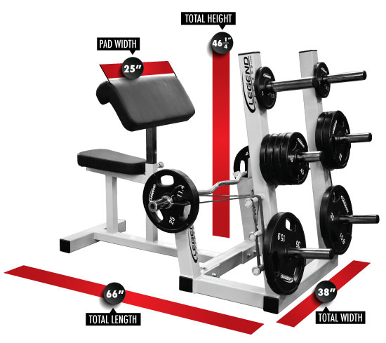 Seated Preacher Curl Bench W Plate Storage Legend