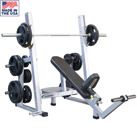 Legend Fitness 3241 PRO SERIES Olympic Incline Bench with Band Pegs