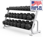 American Built AB-A689 3-Tier Flat Tray Dumbbell Rack for Commercial Clubs by Matrix