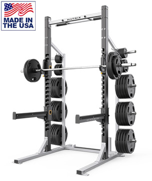 American Built AB-A690 Pro Half Power Rack with Weight Storage