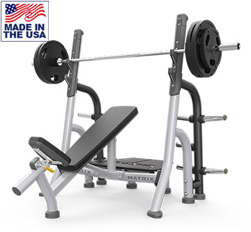 American Built AB-A79 Incline Olympic Weight Lifting Bench with Storage by Matrix
