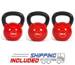 10-50 lb. Set Fitness Series Vinyl Coated Kettlebell