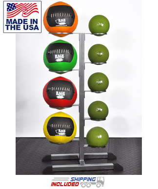 The Slammer and Soft Cover Medicine Ball Combo Rack