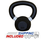 Cast Iron Black Kettlebell in Kilograms and Pounds with Color Banded Handle