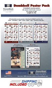 PowerBlock Laminated Workout Posters for Dumbbell Exercises