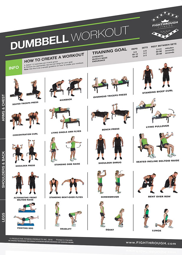 Fightthrough Fitness Workout Chart For Dumbbell Full Body