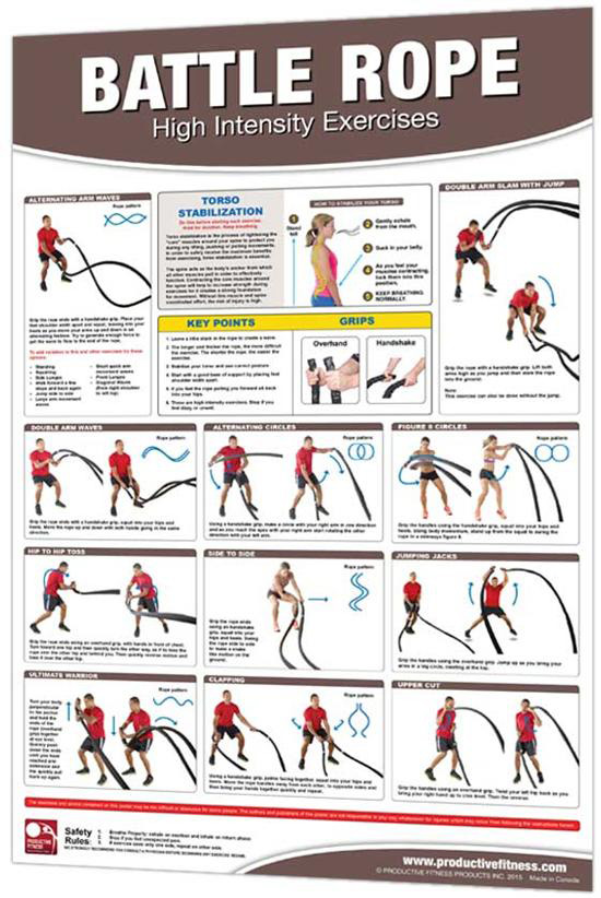 "Productive Fitness 24"" x 36"" Laminated Fitness Poster / Wall Chart - Battle Rope Exercises (CBRL)"