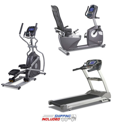 Spirit Fitness Light Commercial Cardio Package with Recumbent Bike, Elliptical Trainer and Treadmill