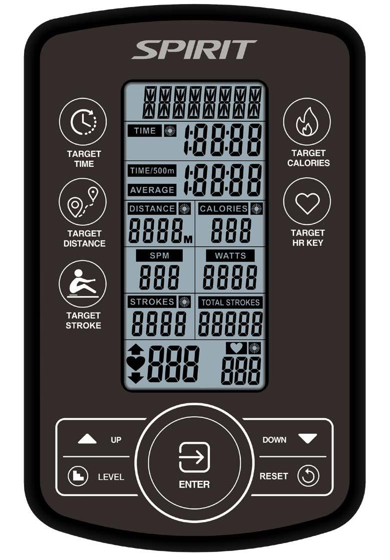 Spirit Fitness CRW800H2O Rower Console
