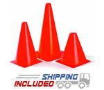 Spri Orange Plastic Agility Cones for Sports Performance Drills