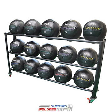 Spri Oversized Medicine Ball Rack with Three Tiers for Storage