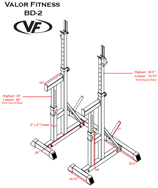 Independent Bench Press Stands 700 Lb Capacity Valor