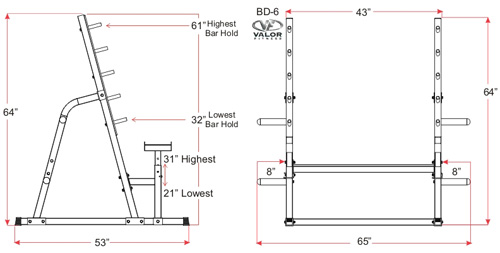 Safety Squat Bench Combo Rack Valor Fitness Bd 6