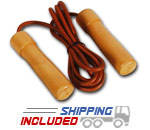 Valor Fitness ES-14 Pro Leather Jump Rope with Wood Handles
