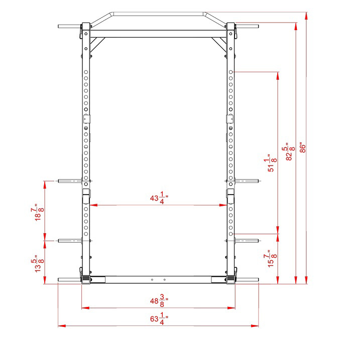 Valor Athletics BD-41 Heavy Duty Power Cage front floor plan schematic