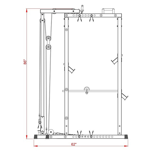 Valor Athletics BD-41 Heavy Duty Power Cage side floor plan schematic with Optional Lat Pulldown Attachment