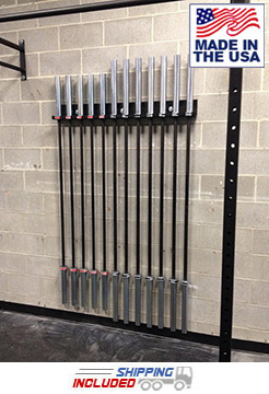 Wall Mounted Weight Bar Rack for 12 Olympic Bars