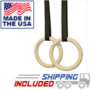 Ironcompany Chalk Friendly Wooden Gymnastics Training Rings and Straps