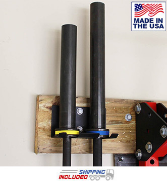 Wall Mount Olympic Barbell Storage Rack 2 Bar Hanger